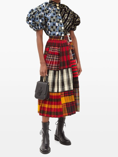 Asymmetric Pleated Tartan-Wool Midi Skirt