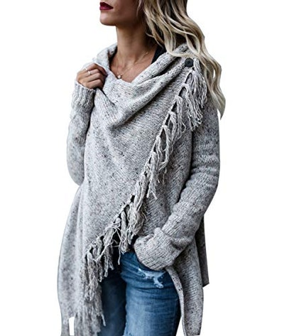 CEASIKERY Tassel Hem Sweater