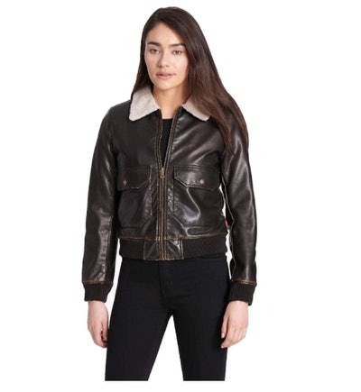 Levi's Faux Leather Sherpa Aviator Bomber Jacket