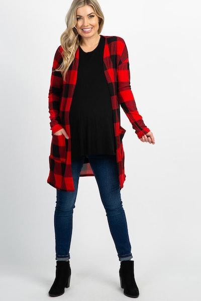 Red Plain Long Sleeve Maternity Cardigan