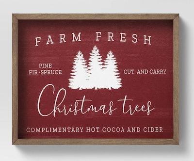 "14"" x 11"" Farm Fresh Christmas Trees Framed Wall Canvas Red"