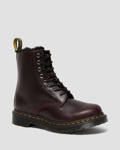 1460 SERENA FAUX FUR LINED LACE UP BOOTS - Oxblood Atlas