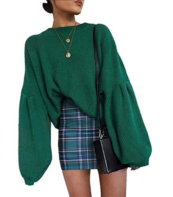 PRETTYGARDEN Lantern Sleeve Sweater