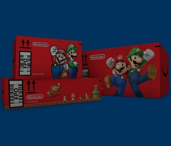 Super Mario-themed Amazon boxes.