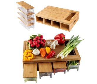 BAMBOO LAND Cutting Board With Storage Trays