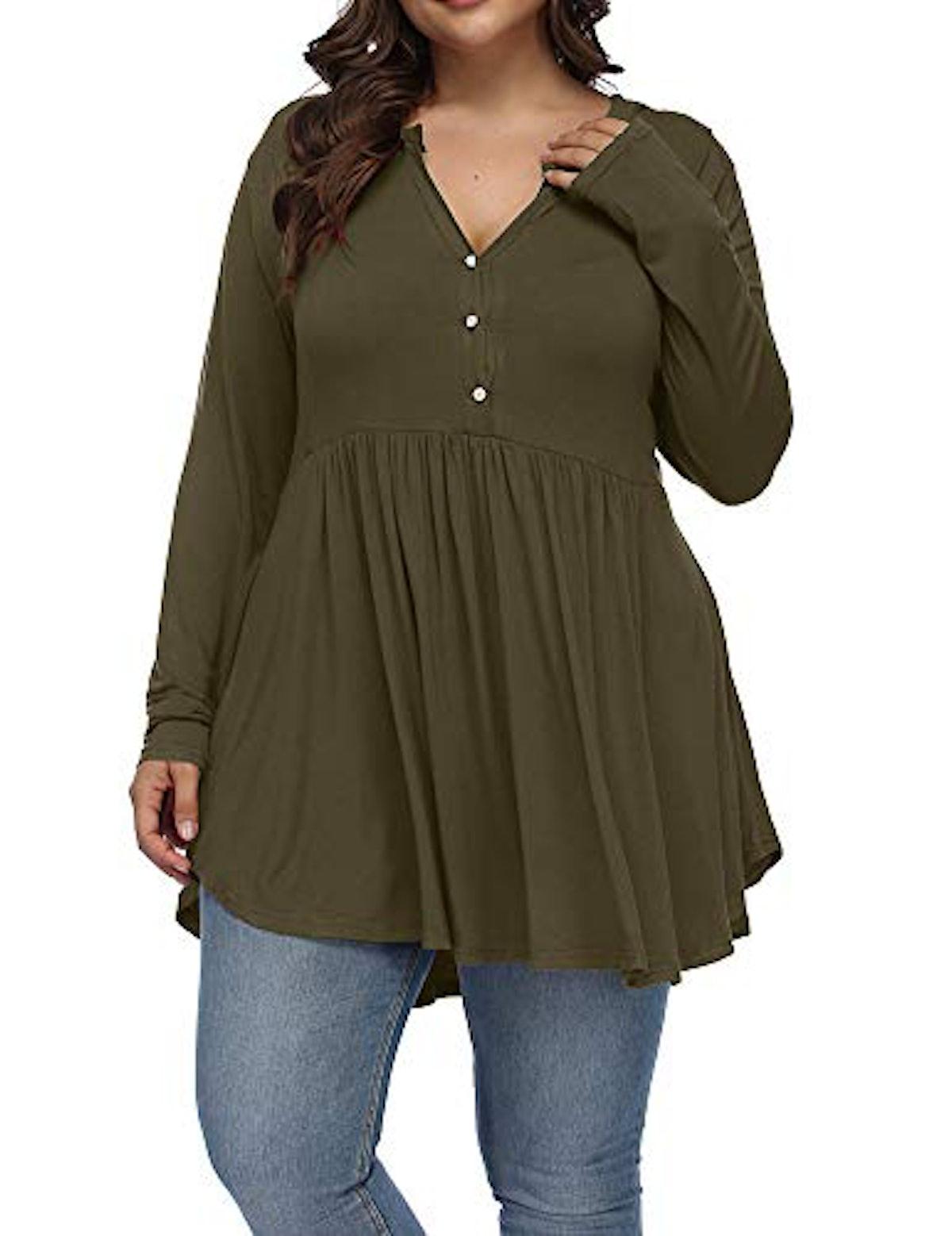 Allegrace Plus-Size Henley Button Tunic