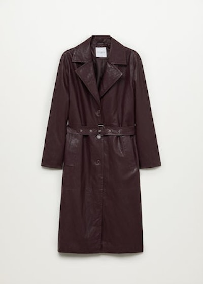 Faux-leather trench