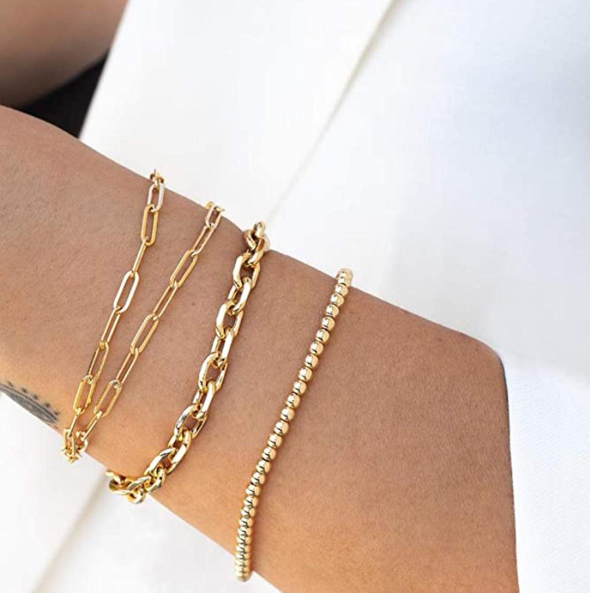 Mevecco Gold Plated Paperclip Link Bracelet