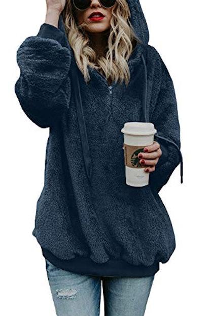 BLENCOT Oversized  Fuzzy Hooded Sweatshirt