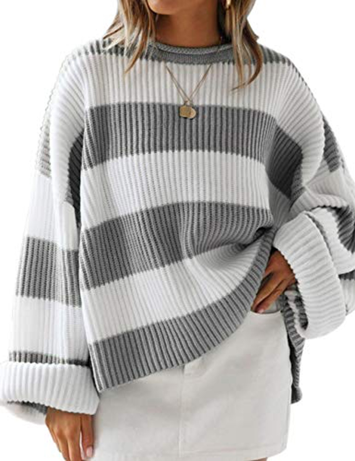 ZESICA Striped Oversized Sweater