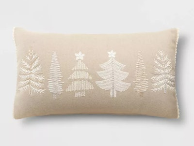 Holiday Oversized Embroidered Trees Lumbar Throw Pillow Neutral