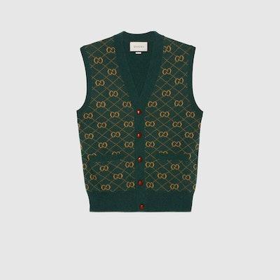 GG argyle knit wool vest