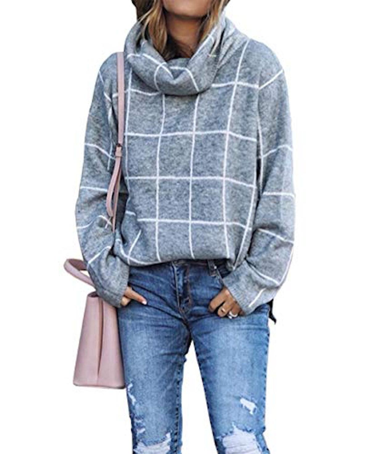 KIRUNDO Checked Turtleneck Pullover