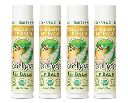 Badger Unscented Lip Balm (4-Pack)