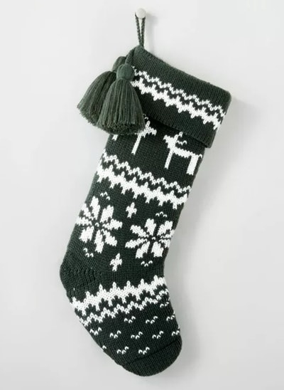 Fair Isle Knit Holiday Stocking with Swing Tassels Green