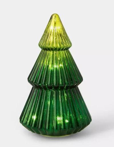 LIT Medium Mercury Glass Christmas Tree Decorative Figurine Ombre Green