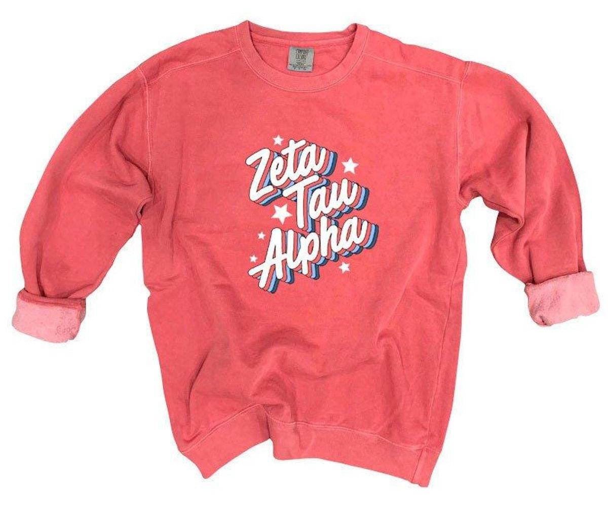 Zeta Tau Alpha Comfort Colors Throwback Sorority Sweatshirt