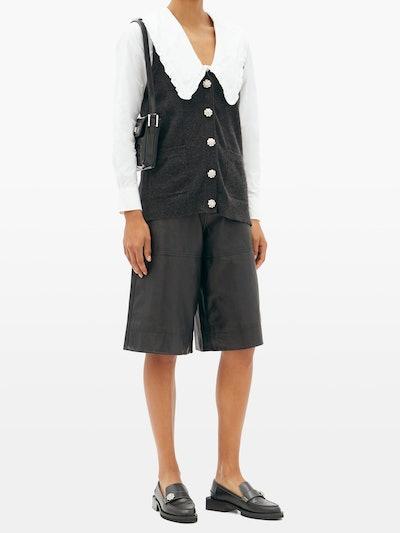 Peter Pan-Collar Cotton-Poplin Shirt