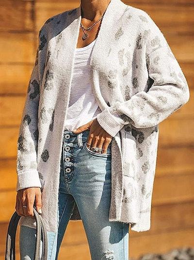 ZESICA Women's Long Sleeve Leopard Cardigan