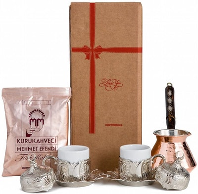 CopperBull Turkish Coffee Pot Set For 2 (10 Piece)