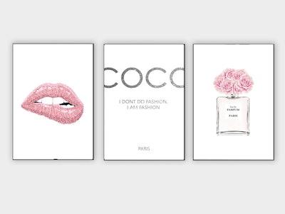 Coco fashion print, Fashion wall art, Set Of 3 Prints
