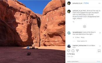 Instagram Utah monolith photo