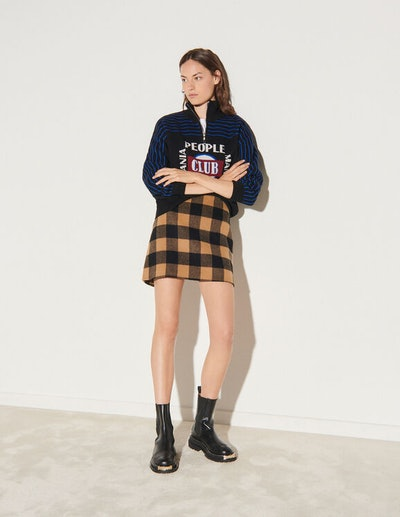 Short Checked Wool Skirt