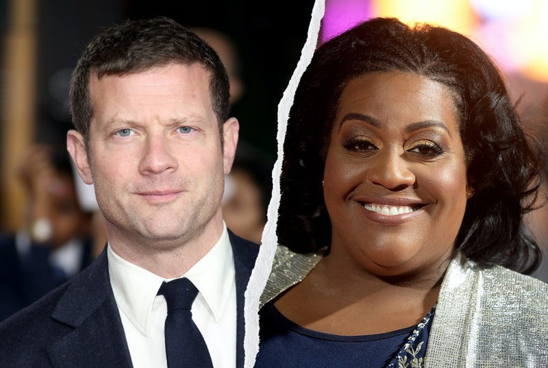 demot o'leary wearing a black suit, white shirt and black tie, alison hammond against a colourful backdrop wearing a grey cardigan and navy top