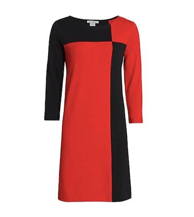 Joan Vass Colorblock Three-Quarter Sleeve Dress