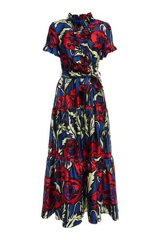Silk Floral Twill Long Dress