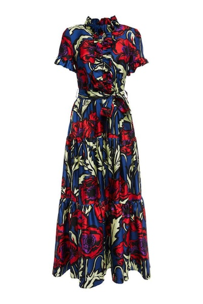 Silk Floral Twill Long Dress