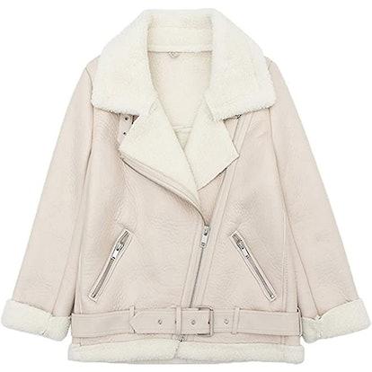 LY VAREY LIN Faux Shearling Moto Jacket