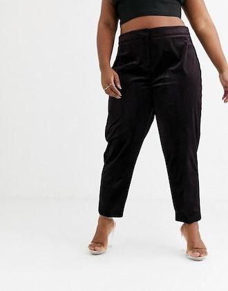 Curve Velvet Tux Slim Suit Pants