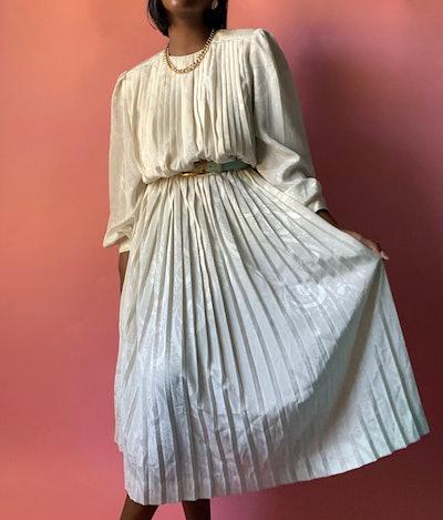 Vintage Long Sleeve Pleated Satin Dress