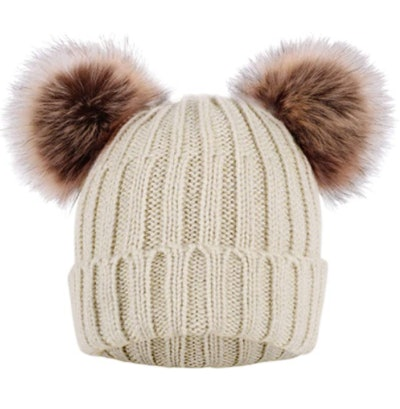 Arctic Paw Cable Knit Beanie with Faux Fur Pompoms