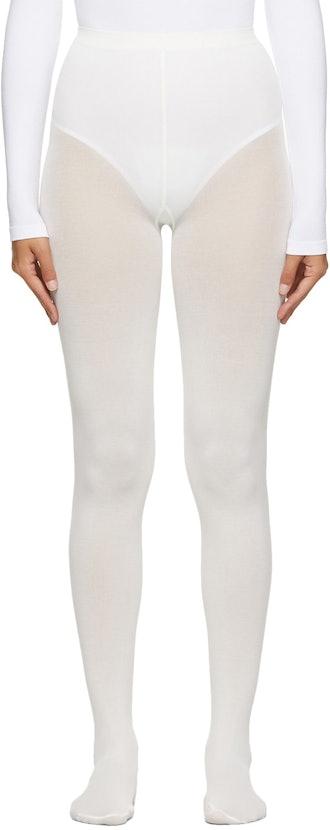 Off-White Cotton Velvet Tights