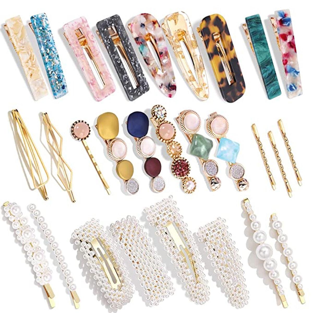 Magicsky Acrylic Resin Hair Clips (28-Pack)