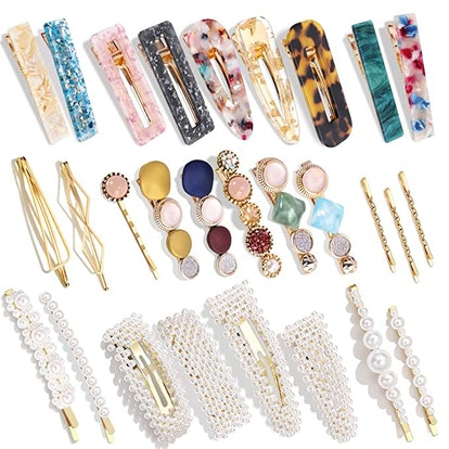 Magicsky Acrylic Resin Hair Clips (28-Pack)