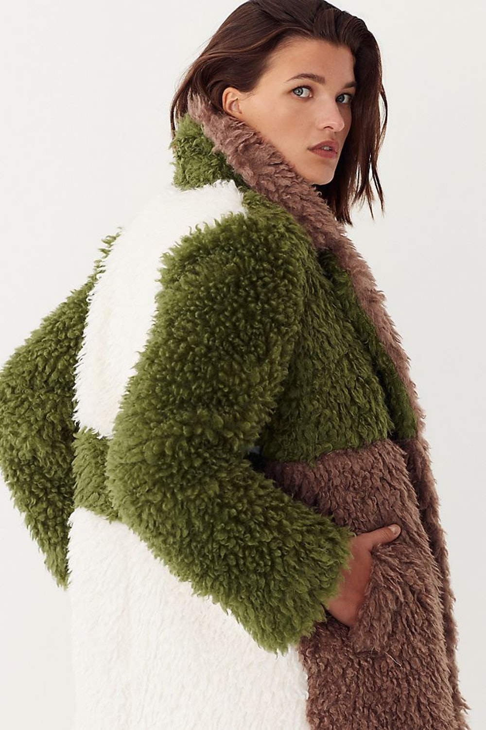 Audrey Colorblocked Faux Fur Coat