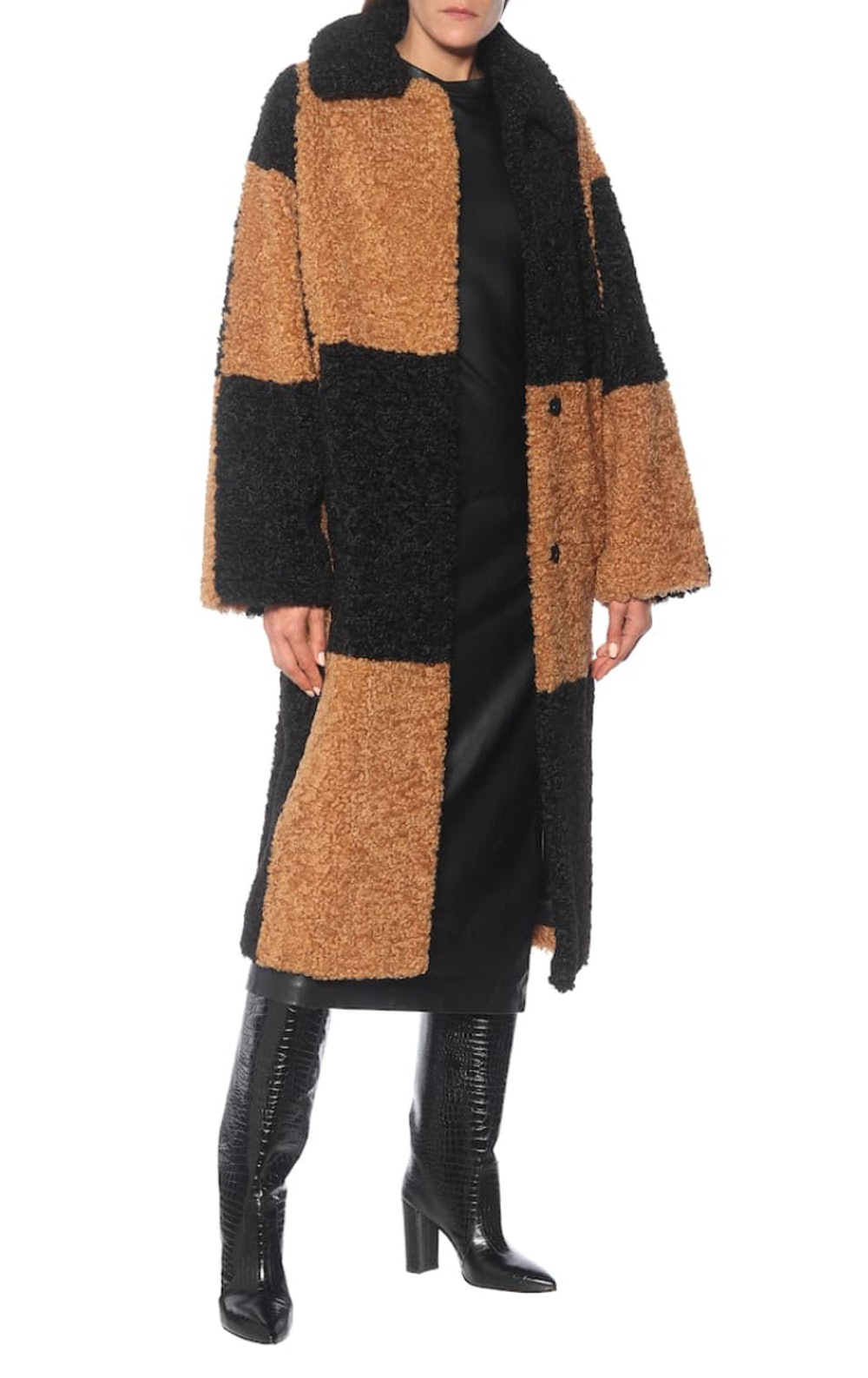 Nikki Checked Faux Shearling Coat