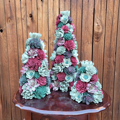 Succulent Tree with Wood Flowers