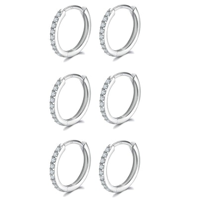 Fcebsty Sterling Silver Cuff Earrings (3 Pairs)