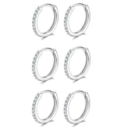 Fcebsty Sterling Silver Cuff Earrings (3 Pairs)