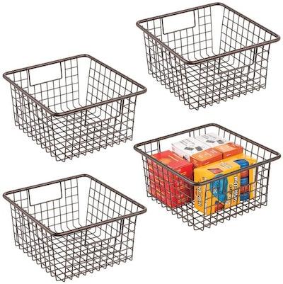 mDesign Farmhouse Metal Storage Bins (4-Pack)