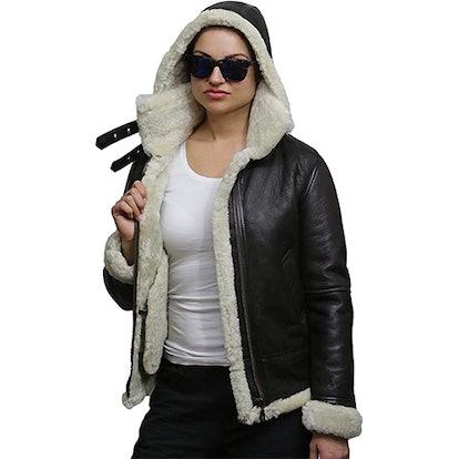 Brandslock Sheepskin Aviator Jacket With Hood