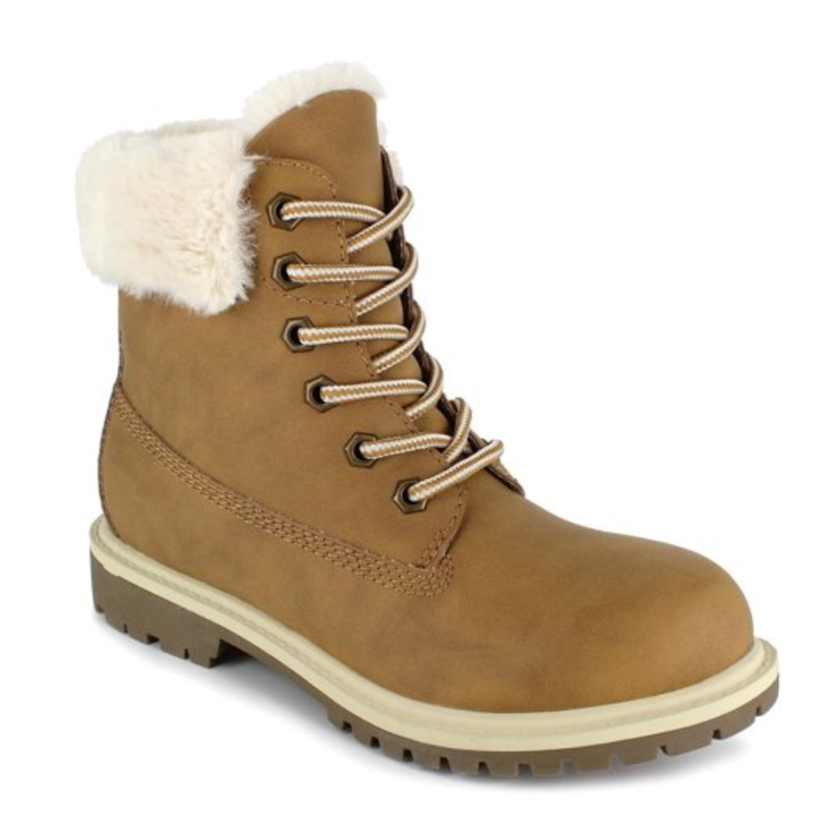 PORTLAND by Portland Boot Company Faux Fur Trim Lace Up Boot