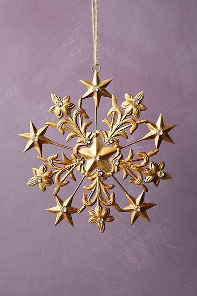 Gold Star Snowflake Ornament