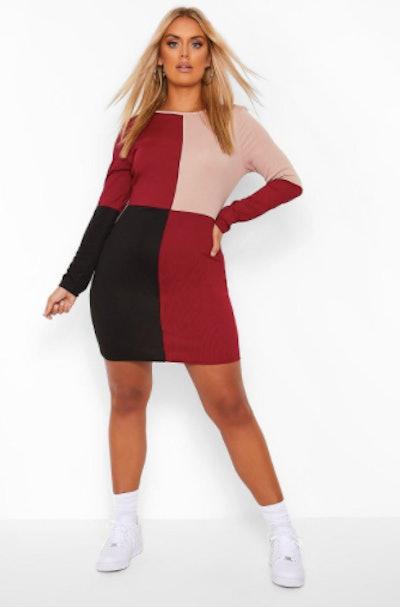 Plus Colour Block Bodycon Dress