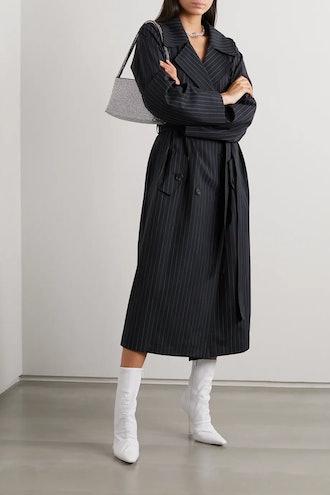 Nairobi Pinstriped Wool-Blend Trench Coat
