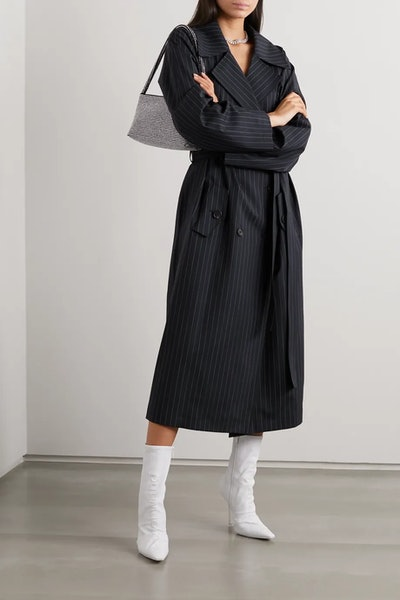 Nairobi Pinstriped Wool-Blend Trench Coat